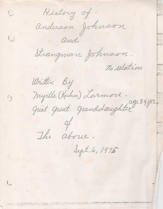 Anderson Johnson and Strangeman Johnson manuscript cover page, 1975