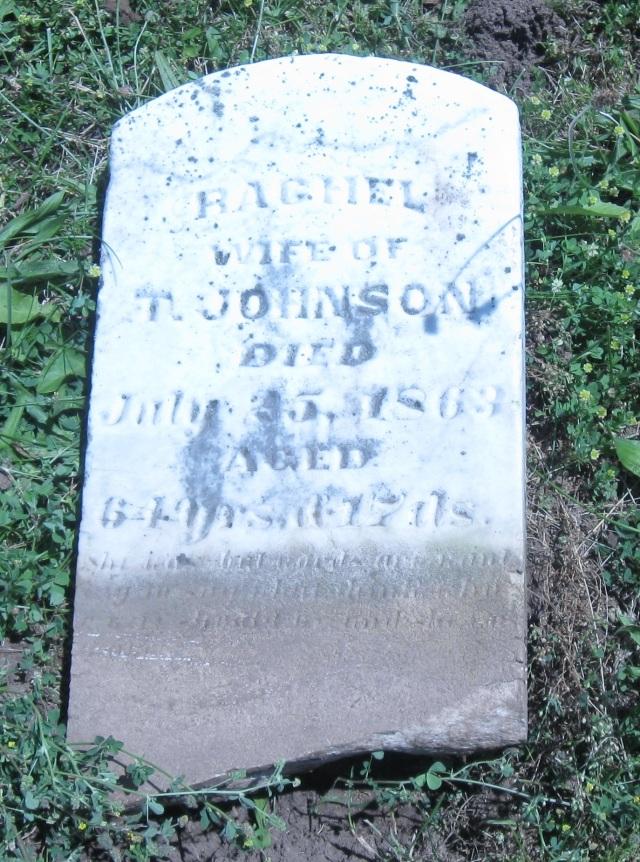 Rachel Johnson Grave Stone, Simmons Cemetery, Jackson Township, Hancock County, Indiana