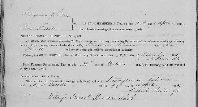 Strangeman JOHNSON and Ann BARRETT, 1846, Henry County, Indiana