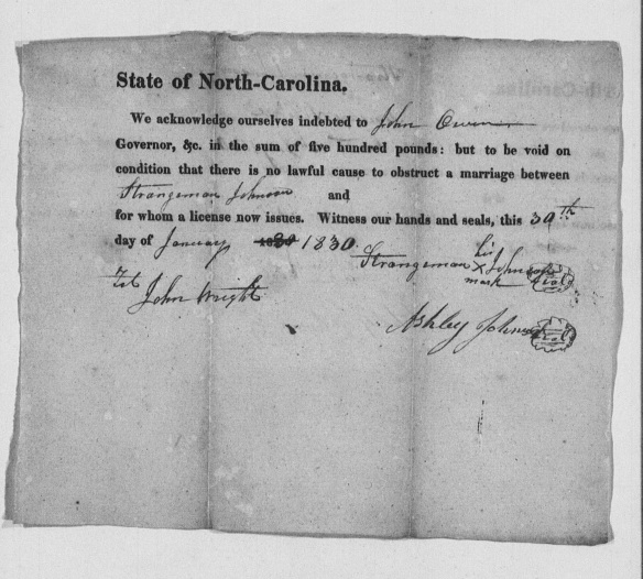 Strangeman JOHNSON marriage bond, 1830, Surry County, North Carolina