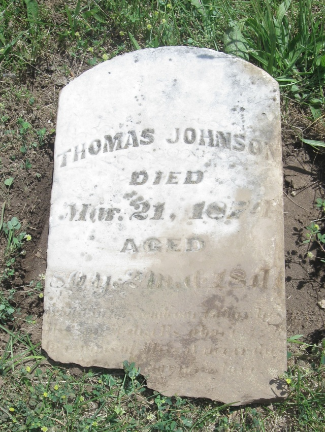 Thomas Johnson Grave Stone, Simmons Cemetery, Jackson Township, Hancock County, Indiana