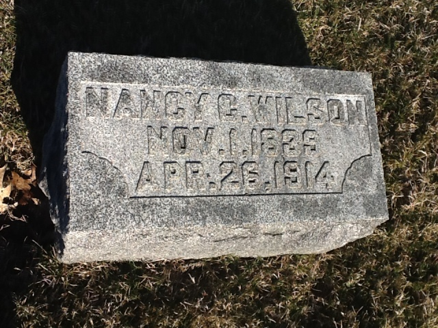 Nancy Caroline (Dunn) Wilson Grave Stone, Park Cemetery, Greenfield, Indiana