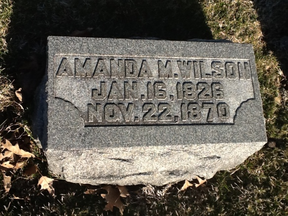 Amanda Melvina (King) Wilson Grave Stone. Sadly, this is the closest I can get to a photo of my ancestor, Amanda, who died too young.