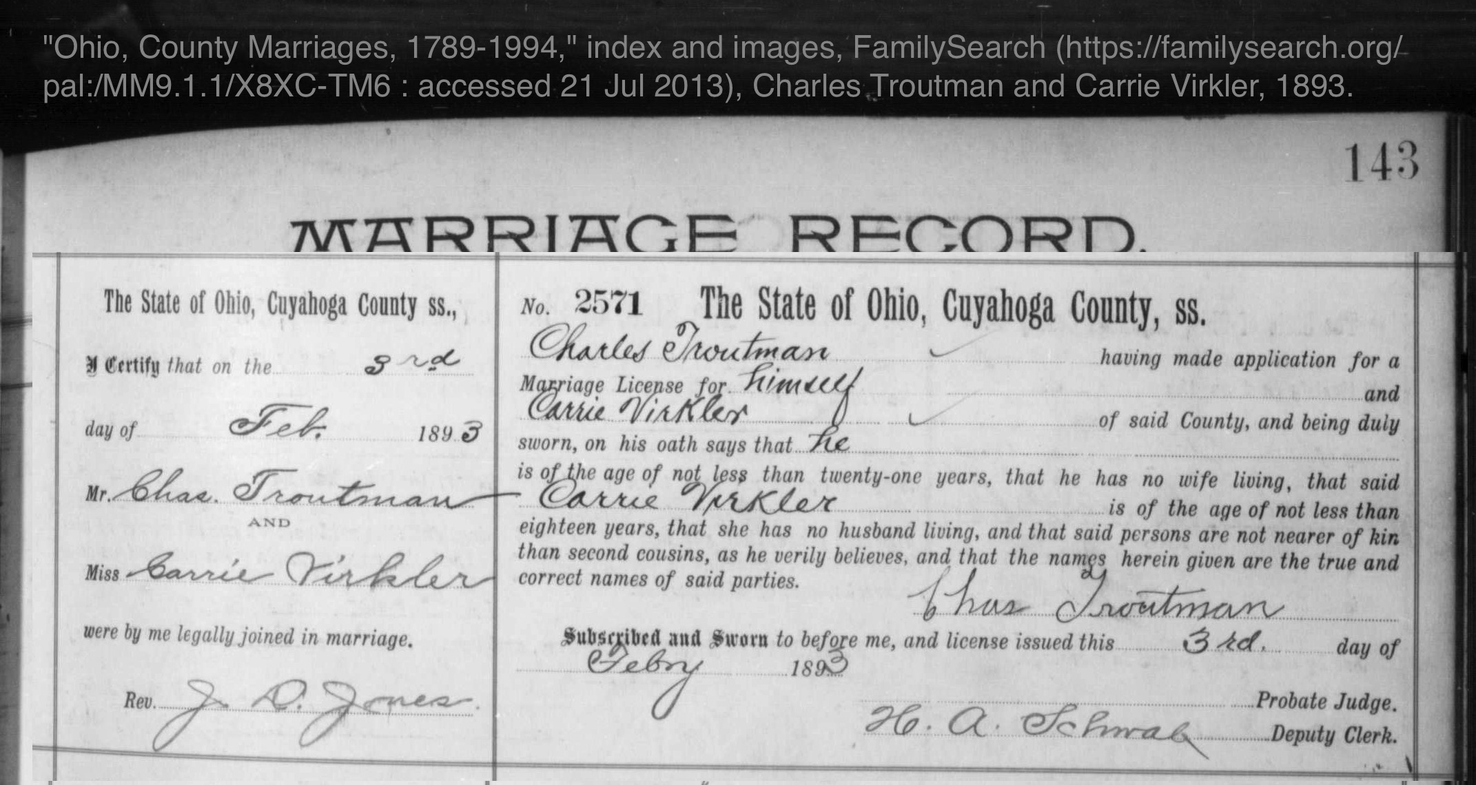 Ohio, County Marriage Records, 1774-1993 - Ancestry.com