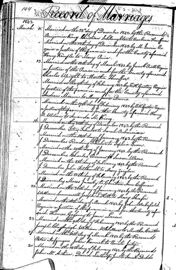 Butler County, Ohio, Marriage Record Book 2, Page 144, Highlighting record of marriage on 17 February 1843 of Henry B. Wilson and Amanda M. King.