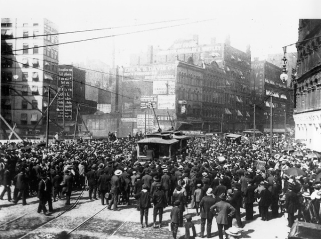 "Cleveland Streetcar Strike of 1899. Courtesy of Case Western Reserve University. ""STREETS - The Encyclopedia of Cleveland History"", http://ech.case.edu/cgi/article.pl?id=S23. Accessed 18 February 2014."