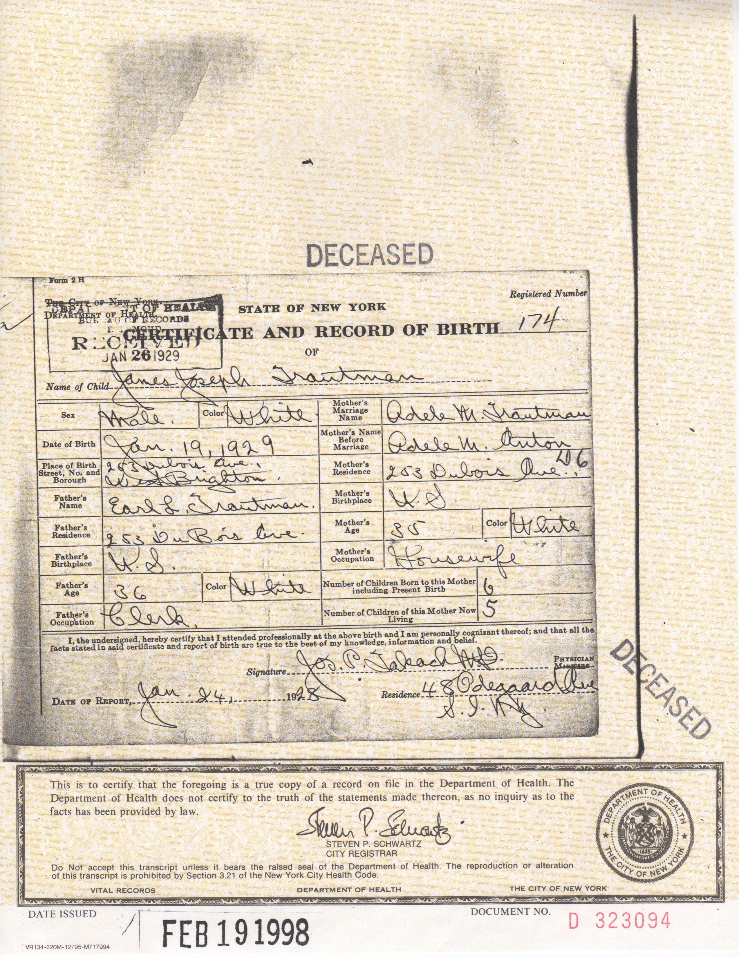 Mary cotter marion ann renfro and adele marie anton james joseph trautman birth certificate 1929 aiddatafo Images