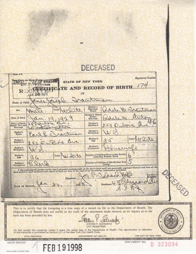 James Joseph TRAUTMAN birth certificate, 1929.