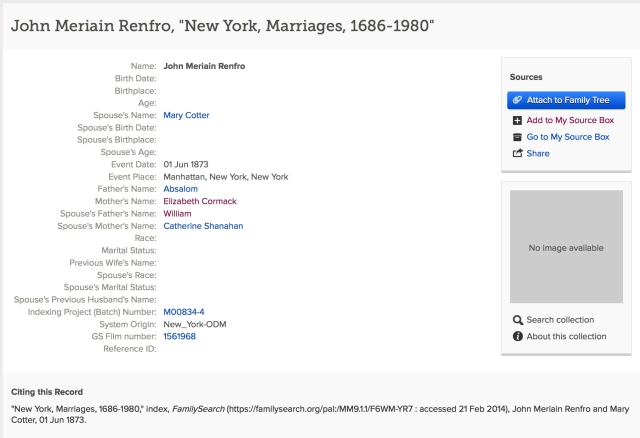 John Marion RENFRO and Mary COTTER marriage index record