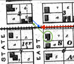 Probable map of the death event of Emily Tague on 8 November 1912 in Greenfield, Indiana.