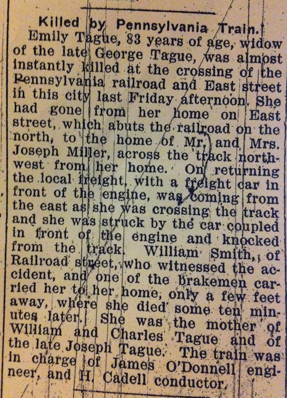 Emily Tague death notice and obituary, 14 November 1912, The Hancock Democrat, Greenfield, Indiana; viewed on microfilm 20 October 2014 , Hancock County Public Library, Greenfield, Indiana.