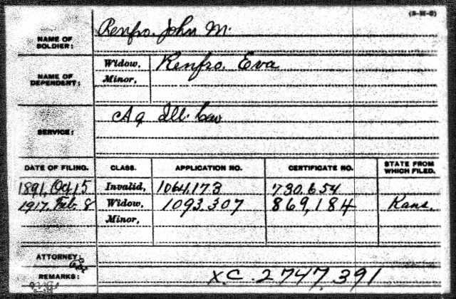 John M. Renfro. National Archives and Records Administration. U.S., Civil War Pension Index: General Index to Pension Files, 1861-1934 [database on-line]. Provo, UT, USA: Ancestry.com Operations Inc, 2000.