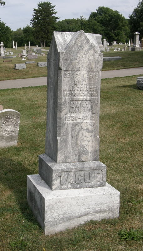 George and Emily TAGUE gravestone showing Geo. W. TAGUE military marker at same grave site in the background. Park Cemetery, Greenfield, Hancock County, Indiana.