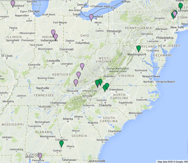 Map showing first and last suspected or known locations of the mtDNA U5a1i1a1 women. Green represents first locations, and purple represents last locations.