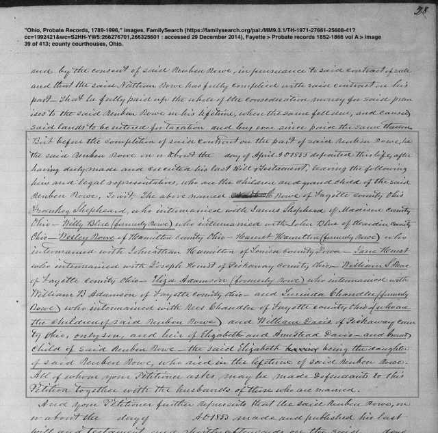 """Ohio, Probate Records, 1789-1996,"" images, FamilySearch (https://familysearch.org/pal:/MM9.3.1/TH-1971-27661-25608-41?cc=1992421&wc=S2HH-YW5:266276701,266325601 : accessed 29 December 2014), Fayette > Probate records 1852-1866 vol A > image 39 of 413; county courthouses, Ohio."