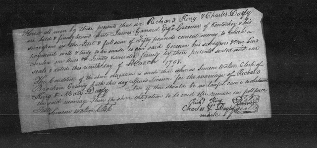 Richard KING and Mary DAYLY marriage bond, 9 March 1798, Bracken County, Kentucky.