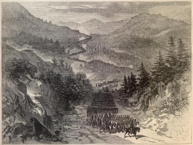 General Ambrose Burnside's Union forces passing through Cumberland Gap in September 1863 during the American Civil War. Public domain.