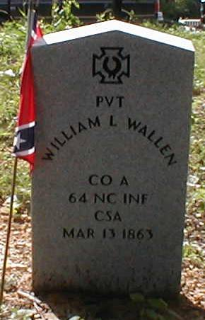 Memorial military marker for Pvt William L. Wallen, DeLap Cemetery, Jacksboro, Campbell County, Tennessee. Photo used with permission from FIndAGrave user Larry & Edie Doepel (#46583214).
