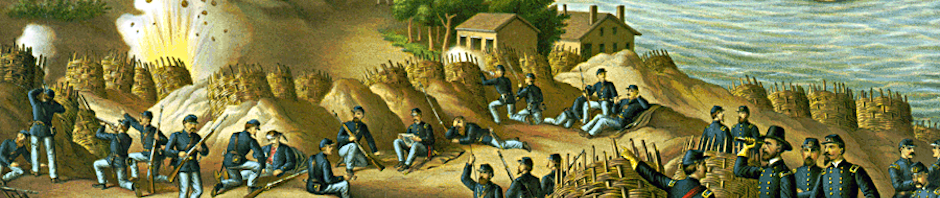 Siege of Vicksburg--13, 15, & 17 Corps, Commanded by Gen. U.S. Grant, assisted by the Navy under Admiral Porter--Surrender, July 4, 1863, by Kurz and Allison, circa 1888. This work is in the public domain in its country of origin and other countries and areas where the copyright term is the author's life plus 70 years or less. https://commons.wikimedia.org/wiki/File:Battle_of_Vicksburg,_Kurz_and_Allison.png. Derivative work - resized and cropped.