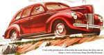 Red 1940 Ford V-8 image from a Car Ad in a 1940 Colliers Magazine Advertisement. Used with permission of Dorothy Broome from her Etsy site at https://www.etsy.com/shop/dorothybroome.