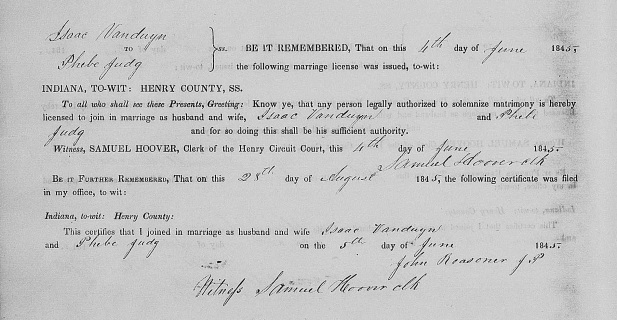 Isaac Vanduyn and Phebe Judg marriage record, Henry County, Indiana