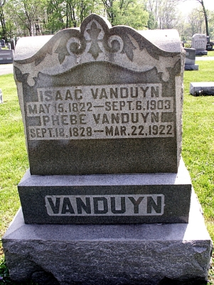 Harlan Cemetery (Hancock County, Indiana; 2 miles N of Wilkinson at Co. Rd. 1000 E and Co. Rd. 900 N, Brown township, Section 22), Isaac and Phebe VanDuyn marker, photographed by this author, March 2013.