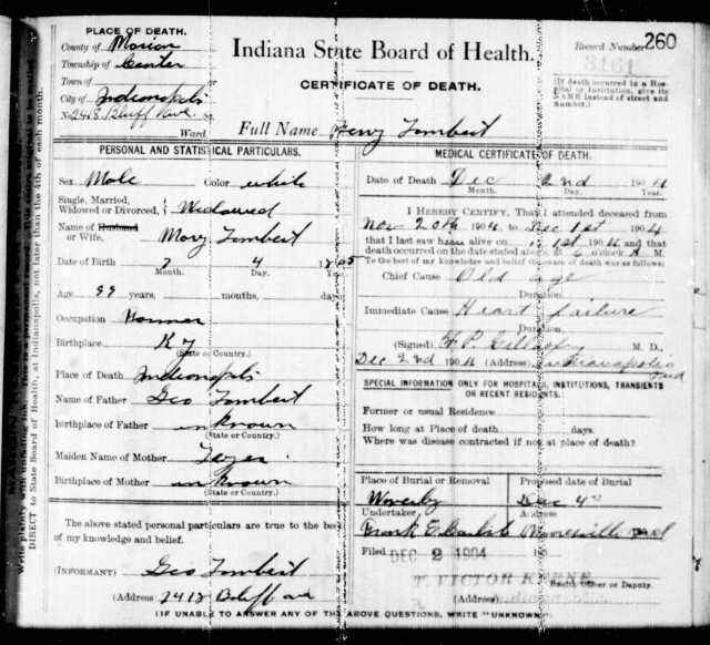 Ancestry.com. Indiana, Death Certificates, 1899-2011 [database on-line]. Provo, UT, USA: Ancestry.com Operations, Inc., 2015. Benjamin Tombert, 2 Dec 1904.