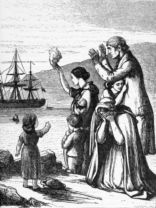 The Emigrants' Farewell, engraving by Henry Doyle (1827–1893), from Mary Frances Cusack's Illustrated History of Ireland, 1868