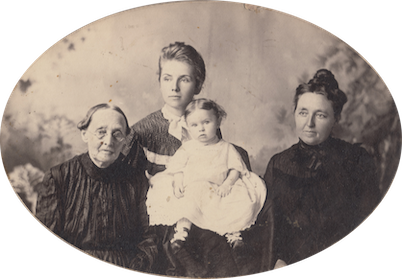 Mum, Bithy, Nova, and Charlotte. Baby Charlotte was born in November 1904, so this photo was taken sometime in 1905 when Mum was around 73 years old. The original photo is owned by my cousin P, and she gave me permission to use a scanned image in this article. Copyright Notice: You do not have permission to download or copy this image without obtaining it from me and my cousin P, which I can check on for you. Thank you.