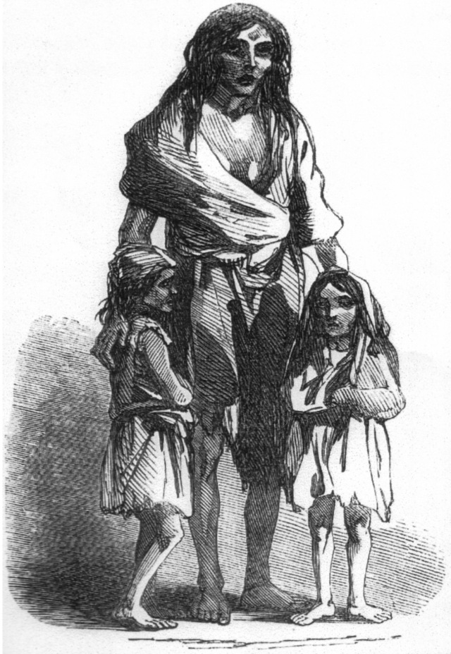 An 1849 depiction of Bridget O'Donnell and her two children during the famine. Public domain.
