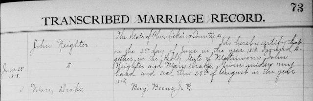John Reighter to Mary Drake, 25 June 1818